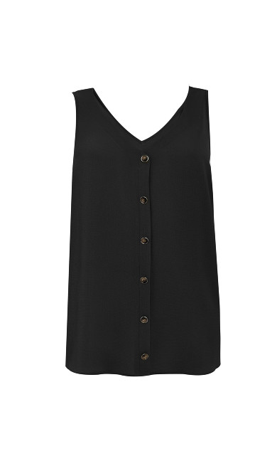 V Neck Button Cami - black
