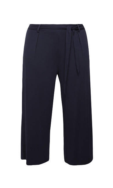 Jersey Crop Trousers - navy