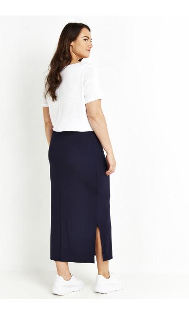 Jersey Midi Skirt - navy