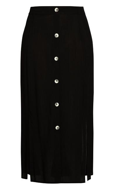 Button Through Maxi Skirt - black