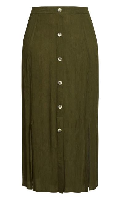 Button Through Maxi Skirt - olive