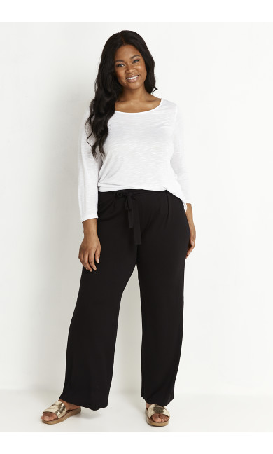 Jersey Wide Leg Trousers - black