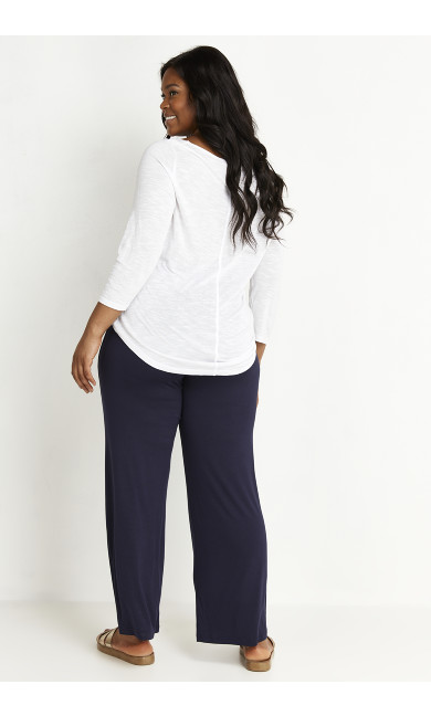 Jersey Wide Leg Trousers - navy