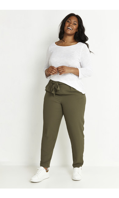 Khaki Pebble Belted Trousers