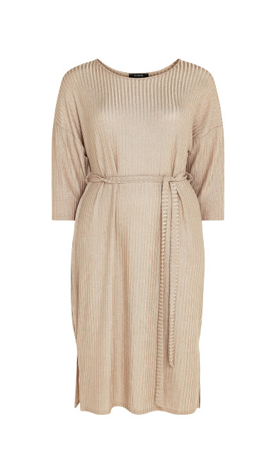 Ribbed Lurex Dress - neutral
