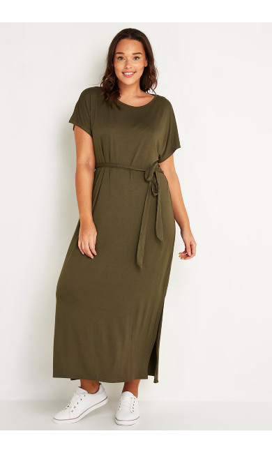 Maxi T-Shirt Dress - khaki