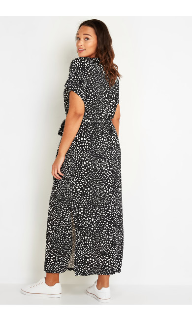 Print T-Shirt Maxi Dress - black