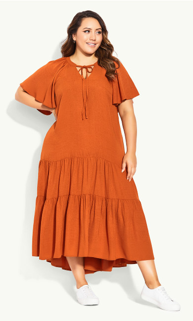 Tiered Maxi Dress - rust