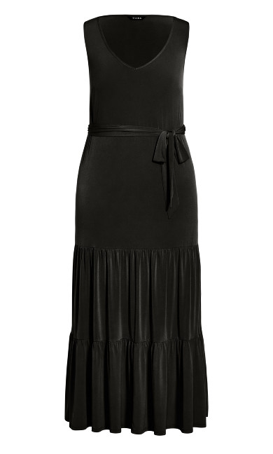 Tiered Sleeveless Maxi Dress - black