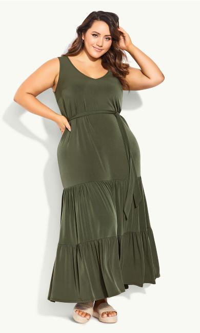 Tiered Sleeveless Maxi Dress - khaki
