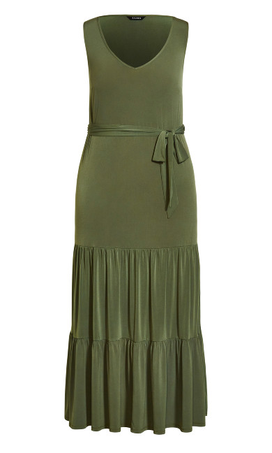Tiered Sleeveless Maxi Dress - khaki