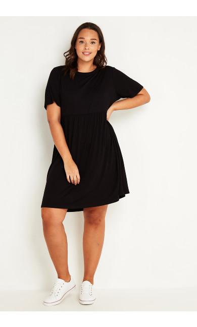 Gathered Seam Dress - black