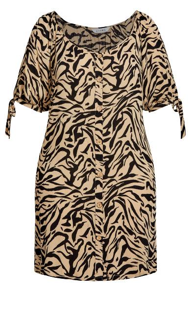 Zebra Tie Sleeve Dress - neutral