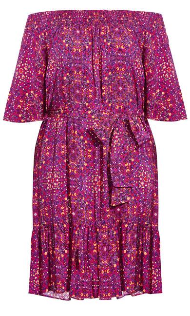 Tile Print Bardot Dress - magenta