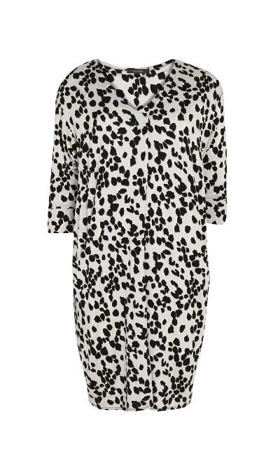 Button Detail Animal Print Dress - grey