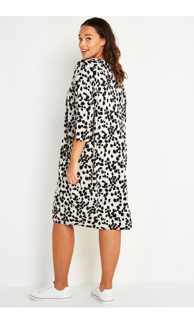 Button Detail Animal Print Dress - grey