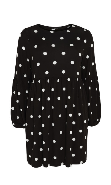 Spot Puff Sleeve Dress - black