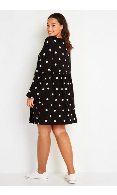 Spot Puff Sleeve Dress - black