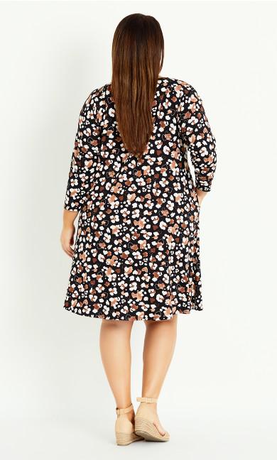 Heart Animal Pocket Dress - black
