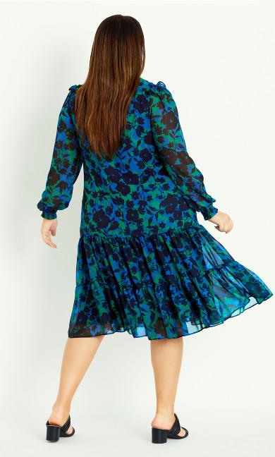 High Neck Frill Dress - blue