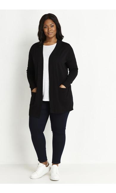 Fine Knit Cardigan - black