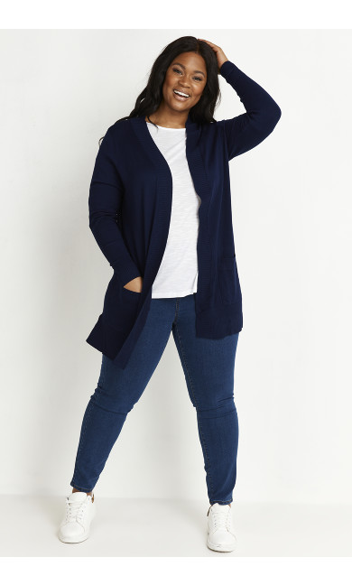 Fine Knit Cardigan - navy