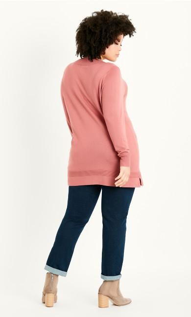 Rib Trim V Neck Jumper - pink