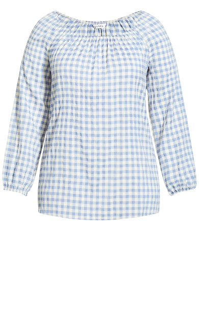 Gingham Peasant Blouse - blue