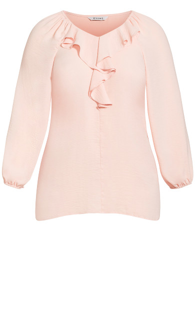 Ruffle Front Blouse - pink