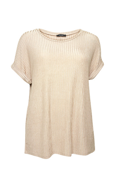 Ribbed Lurex Top - neutral