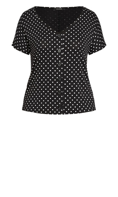 Jersey Button Up Top - black polka
