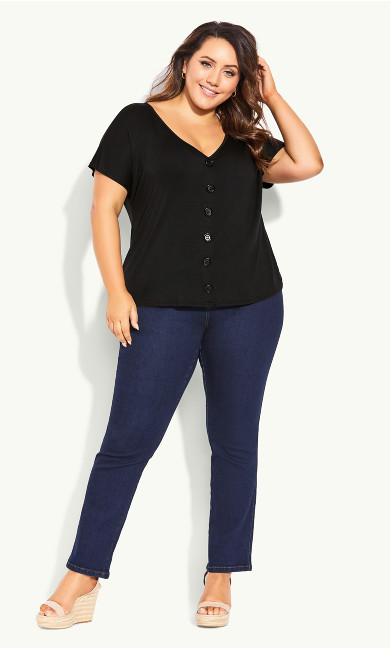 Jersey Button Up Top - black