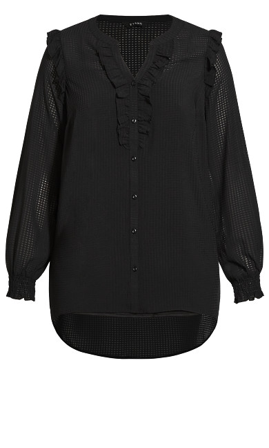 Sheer Ruffle Detail Blouse - black
