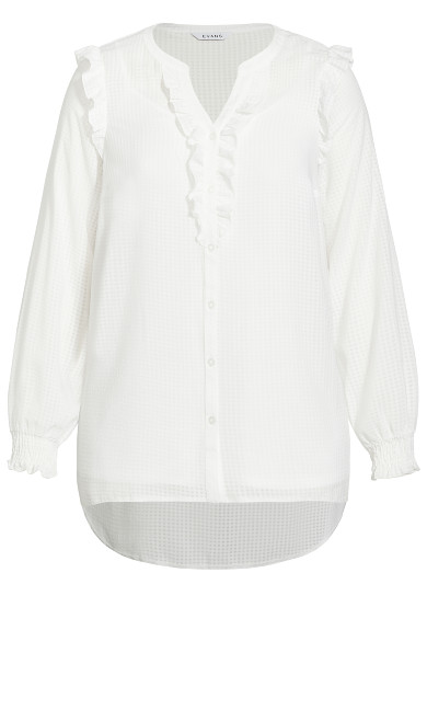 Sheer Ruffle Detail Blouse - ivory