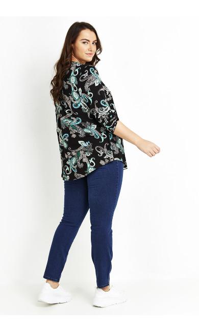 Paisley Print Jersey Shirt - black