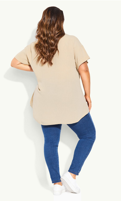 Button Detail Top - neutral