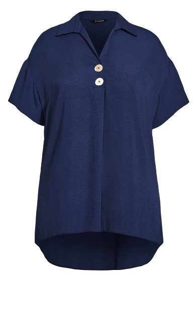 Button Detail Top - navy