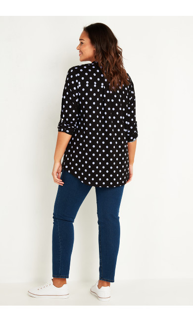 Polka Dot Jersey Shirt - black lilac