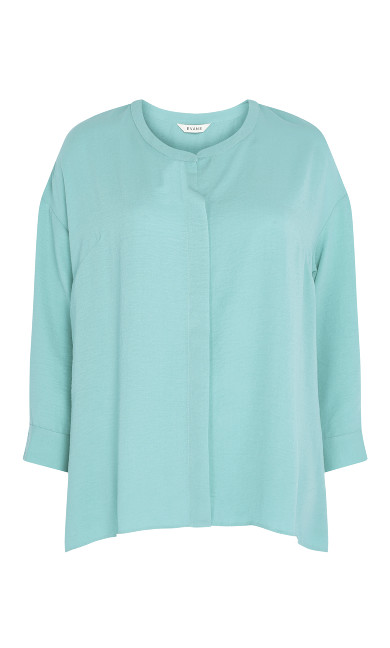 Relaxed Hi Lo Shirt - aqua