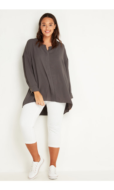 Relaxed Hi Lo Shirt - grey