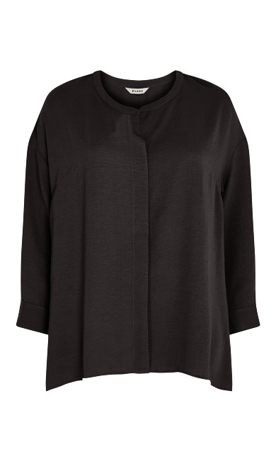 Relaxed Hi Lo Shirt- black