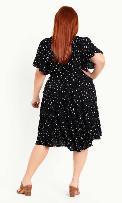 Print Frill Sleeve Dress – black