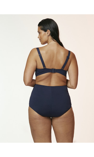 Navy Blue Ruched Wired Bikini Top