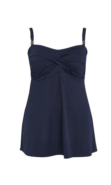 Navy Blue Ruched Swimdress