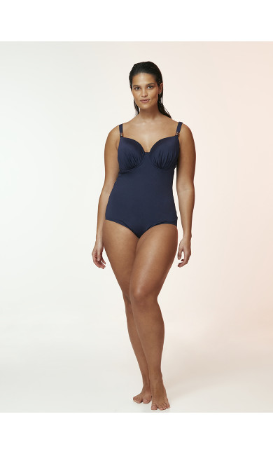 Navy Blue Wired Plunge Swimsuit