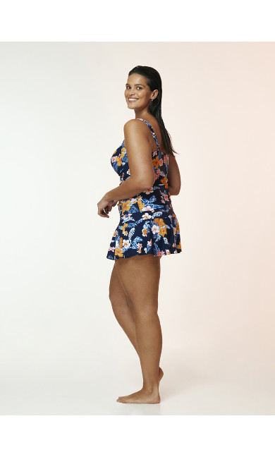 Navy Blue Tropical Print Swim Skirt