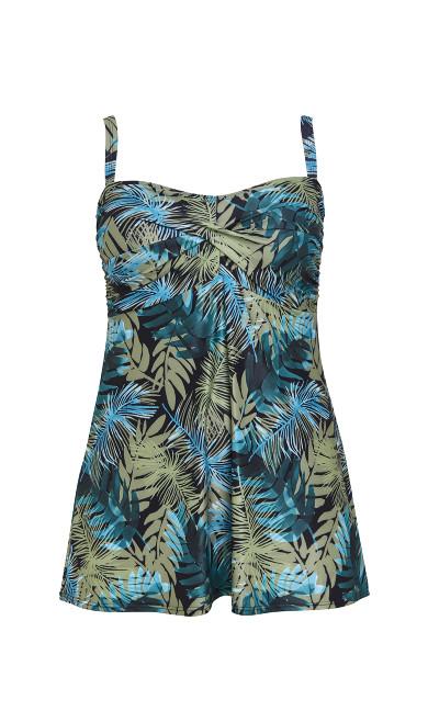 Khaki Palm Print Twist Swimdress