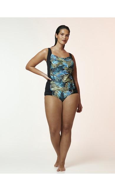 Multi Colour Palm Print Swim Tankini Top