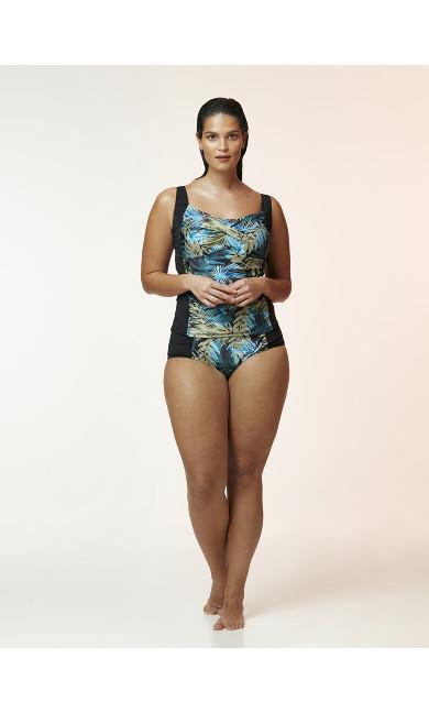 Khaki Palm Print High Waisted Swim Briefs