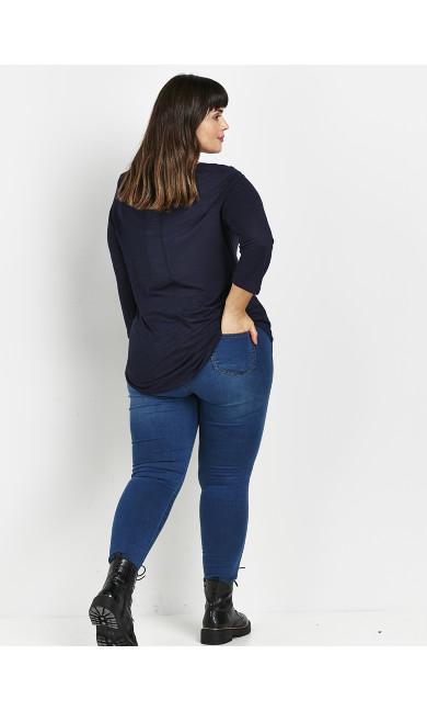 Navy Blue 3/4 Sleeve T-Shirt
